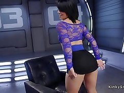 Brunette Gets Banged In The Ass By Fucking Machine