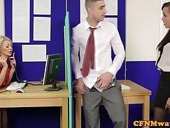 Busty cfnm femdom office lady show off