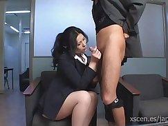 Bootyful Japanese escort blows and fucks schlong of her boss