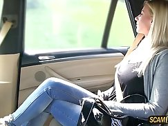 Big-boobied babe pussy creampied in fake taxi