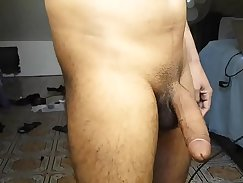 after a hot sex shaking tits, one enjoys walking stick stroking