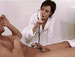 Allened within Ally Hart and doctor in black costume sex in the patients room
