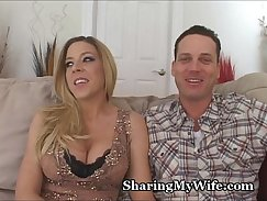 Blonde wife shares hubbys dick with chum