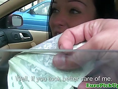 All the way whore flashing in fake taxi to get cash