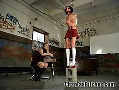 Classy schoolgirls punished in gentle BDSM manner