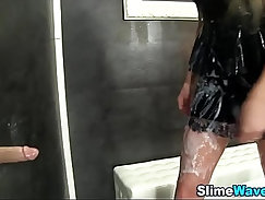 Asslicking fetish babes getting each others holes sliding onto cock