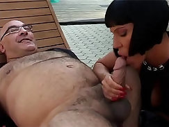Asian woman anal fucked outside