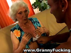 Athletic lanky mature granny dominated by a hard cock
