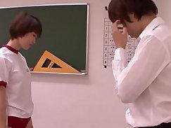 Beautiful young Schoolgirl masturbates on her teacher