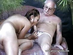 Awesome asian fuck slut sucks cocks