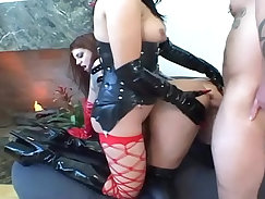 Busty fetish babe stockings snatch slammed by huge cock