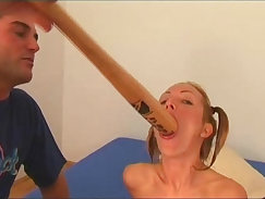 Black-haired Brett pounds and shakes her giant plastic dick