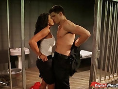 blonde that loves being fucked at the police station is with a boy