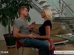 Blonde lesbian babe gives proper titjob