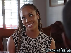 sexy ebony girl with a button tits gets jizzed from behind