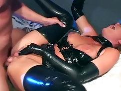 Beautiful Latex Brunette Braces Her Body Anal Sex