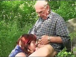 Big granny paid for the job outdoor
