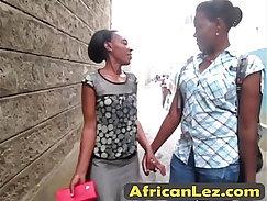 Black Lesbian Kisses Enjoy Sucking Semen