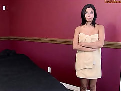 Beautiful young girl give erotic massage and rimjob