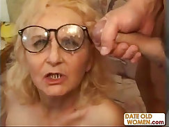 Ardent tall and blond granny Missy gets her tied up and fucked by two horny fellows