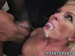 Buff granny stockings masturbates