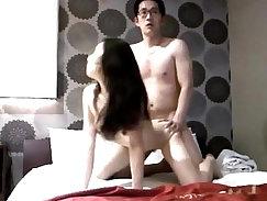 Amateur couple pleasing happy korean girl