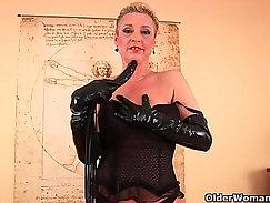 Blonde granny Ivanica perverts her sofa