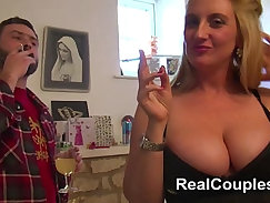 Big boobs housewife gets mouth and anal