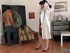 Blonde schoolboy cock spit roast by older woman