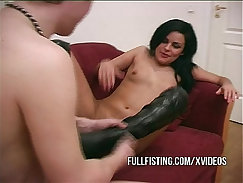 British girlfriend gets plowed on leather bed