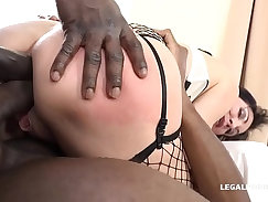 Beautiful long haired MILFs fucks black cock with her little hands