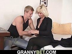 Mature blonde wench sucks cock