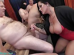 Busty milf arrived at the dormitory party for a cumshot scene