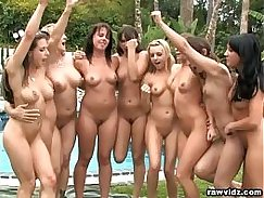 Group of hot outdoor lesbian babes raising their bodies