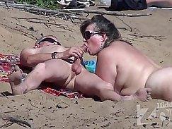 Hot boy blowjob on public beach