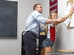 Blonde teen teacher barebacks her students GF