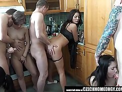 Naughty chicks have fun in the kitchen and homemade