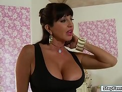 Busty stepmom tugged and banged by younger gang Of course this