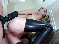 Anal prolapse girl in latex stockings