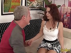Chubby grandma gratifying his cock