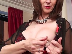 Cute and pale Mature Mother takes a shave