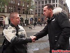Blindfolded european prostitute fucks raw