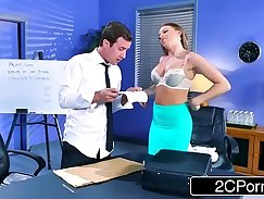 Boss does alternate night in office with busty vikki and Jasmine