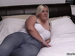 BBW blonde gives head before getting payed